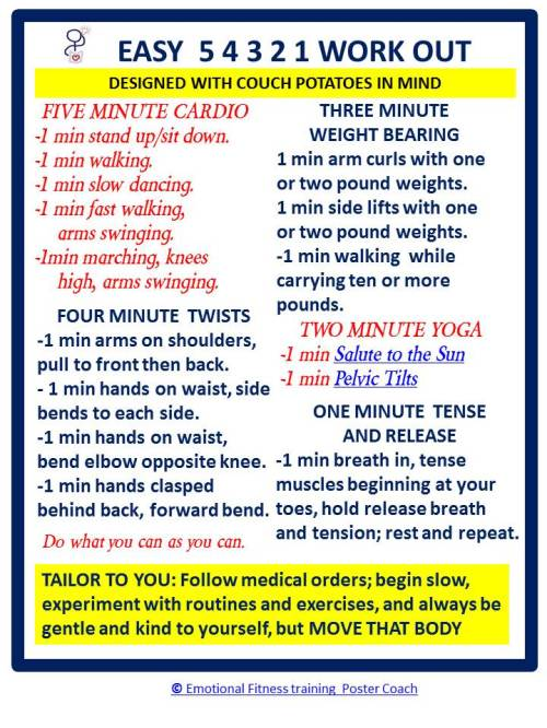 Emotional Fitness Poster Coach offering Easy 5 4 3 2 1 exercises