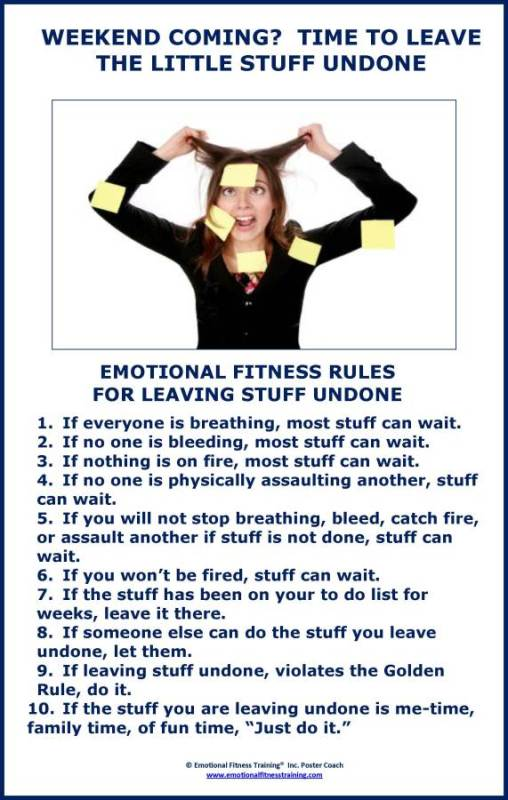 10 Humorous Rules to help you decide what to leave undone poster.