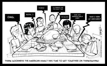 Texting through Thanksgiving Dinner.