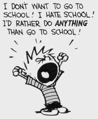 "Cartoon ""Child hates school."""